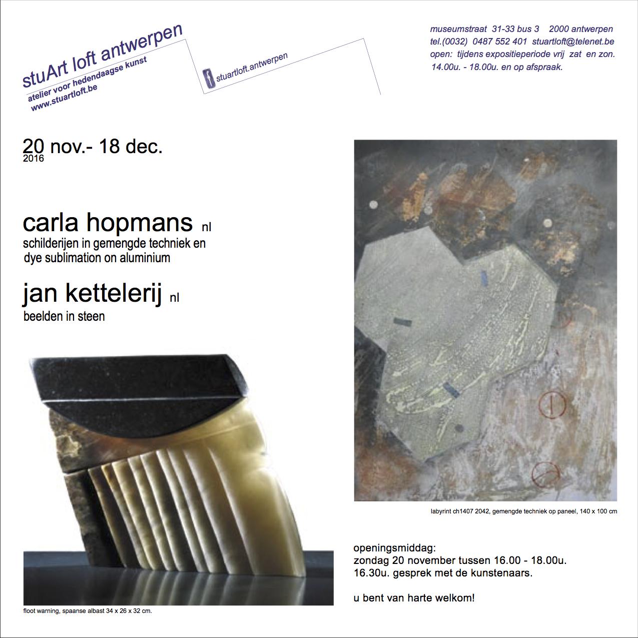 Jan Kettelerij en Carla Hopmans <br> exposeren bij stuArt loft Antwerpen