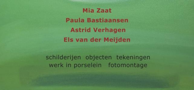 Paula Bastiaansen, Els van de Meijden, Astrid Verhagen en Mia Zaat exposeren van 2 t/m 25 juli 2021 in Galerie Arsis