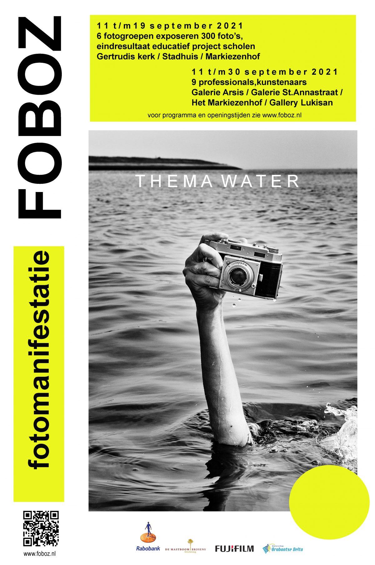 Fotomanifestatie Water. Expositie van 3 t/m 26 september 2021, georganiseerd door FoBoz, met in Galerie Arsis: Joel Tjintjelaar, Louis Sauter, Frank van Es en Rem van den Bosch.